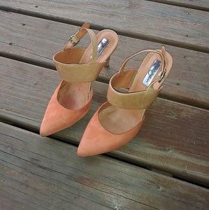 Halogen Suede/Leather Color Block Sling Back Heels
